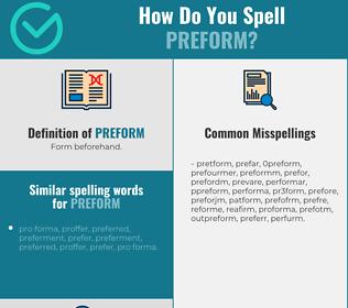 Correct spelling for preform