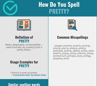 Correct spelling for pretty