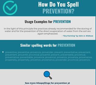 Correct spelling for prevention