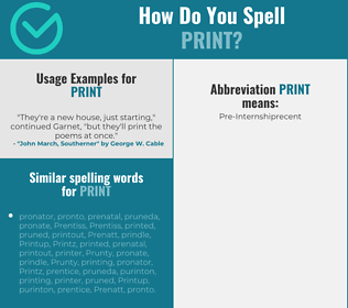 Correct spelling for print