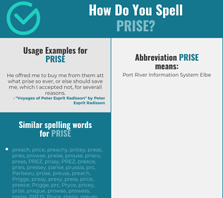 Correct spelling for prise