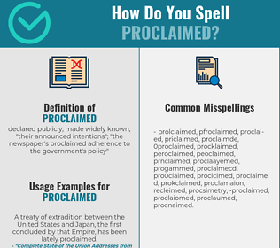 Correct spelling for proclaimed