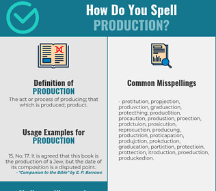 Correct spelling for production