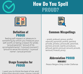 Correct spelling for proud