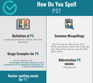 Correct spelling for ps