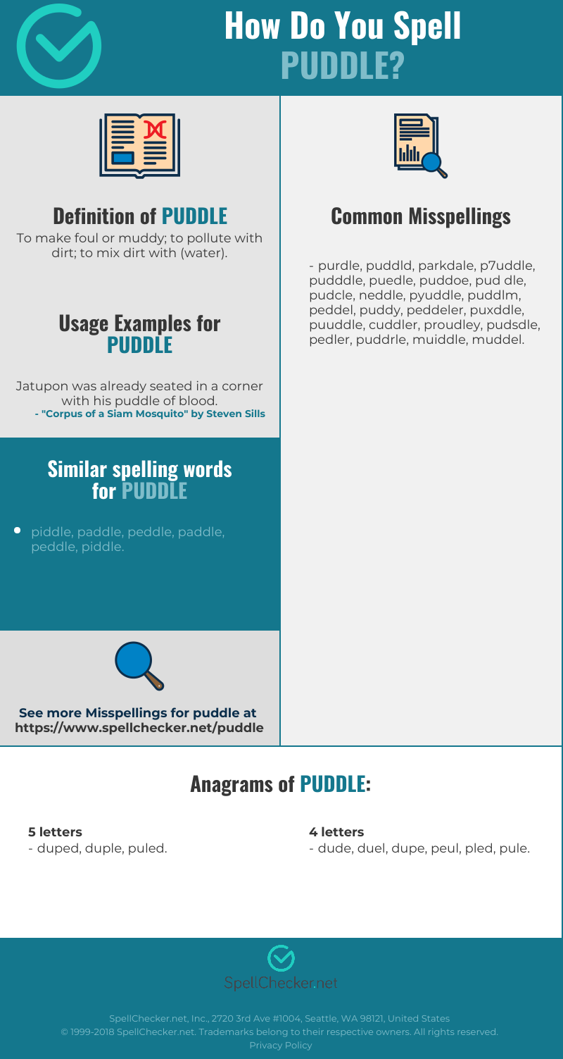 Correct spelling for puddle [Infographic] | Spellchecker net