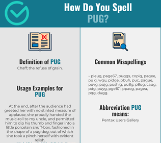 Correct spelling for pug