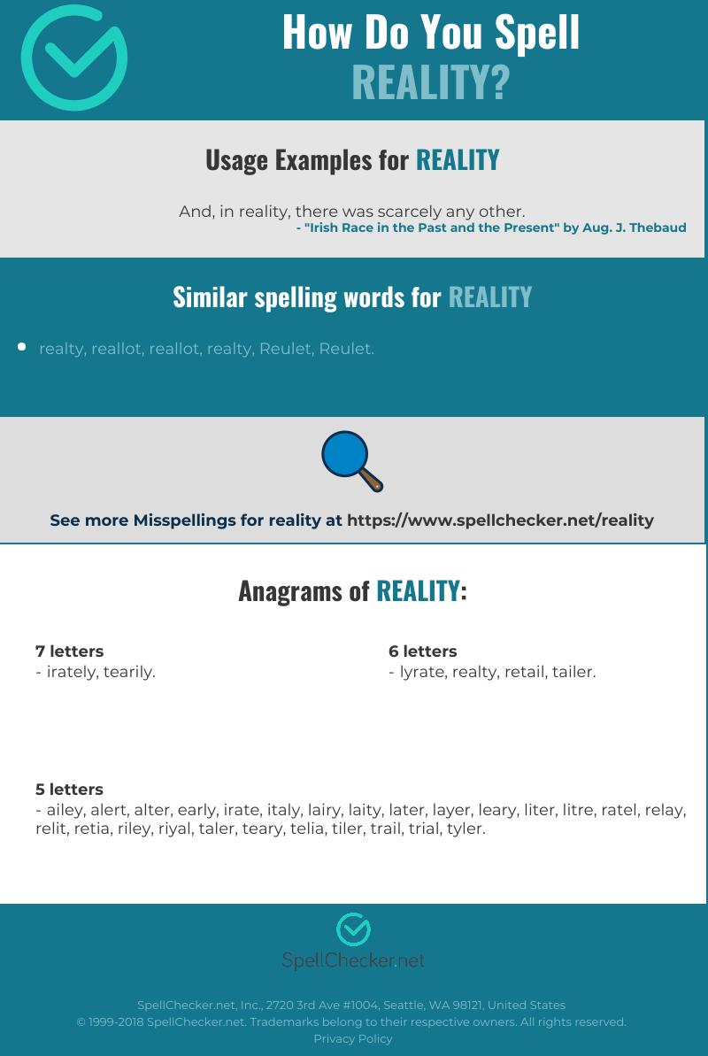 Correct spelling for reality [Infographic]   Spellchecker net