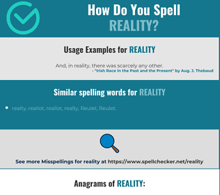 Correct spelling for reality