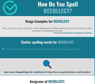 Correct spelling for recollect