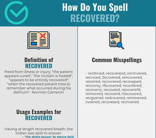 Correct spelling for recovered
