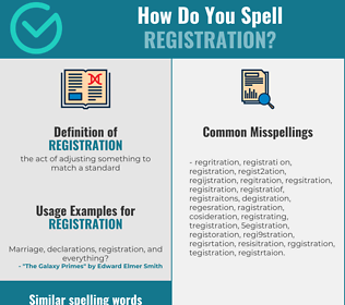 Correct spelling for registration
