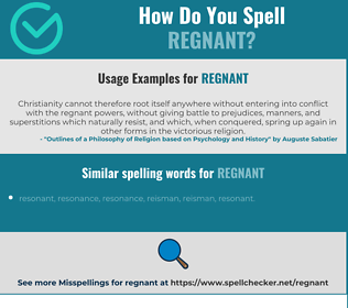 Correct spelling for regnant