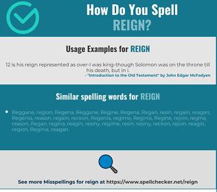 Correct spelling for reign