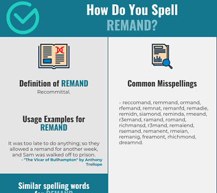 Correct spelling for remand