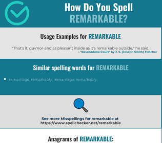 Correct spelling for remarkable