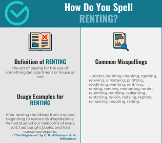 Correct spelling for renting