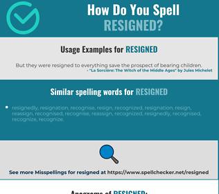 Correct spelling for resigned