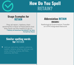 Correct spelling for retain