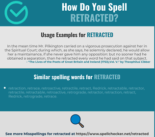 Correct spelling for retracted