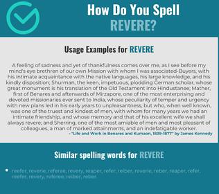 Correct spelling for revere