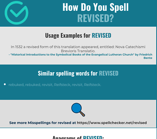 Correct spelling for revised