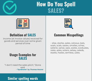 Correct spelling for sales