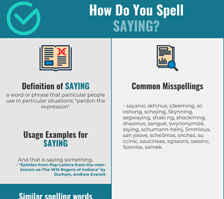 Correct spelling for saying