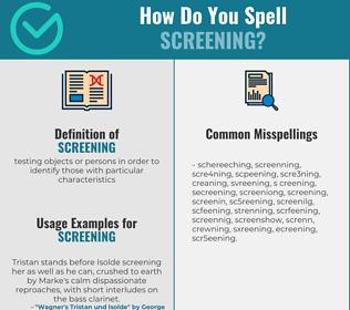 Correct spelling for screening