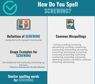 Correct spelling for screwing