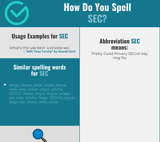 Correct spelling for sec