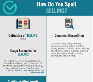 Correct spelling for selling