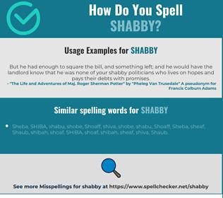 Correct spelling for shabby