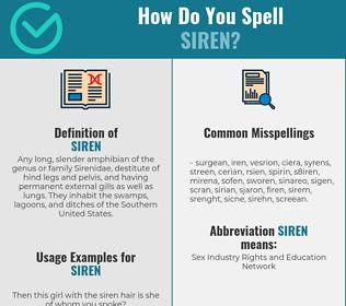 Correct spelling for siren