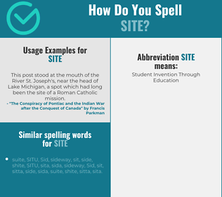 Correct spelling for site
