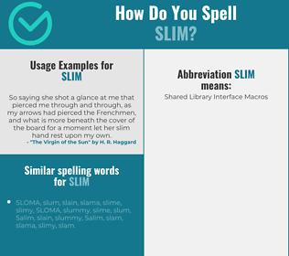 Correct spelling for slim