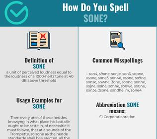 Correct spelling for sone