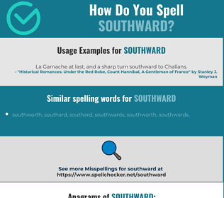 Correct spelling for southward