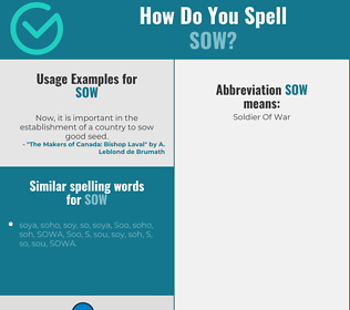 Correct spelling for sow