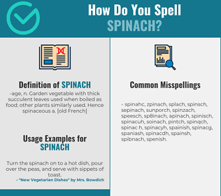 Correct spelling for spinach