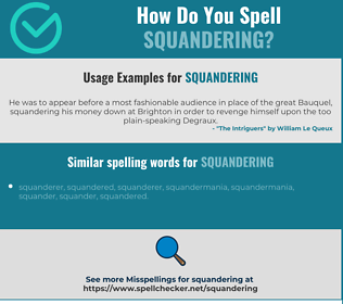 Correct spelling for squandering