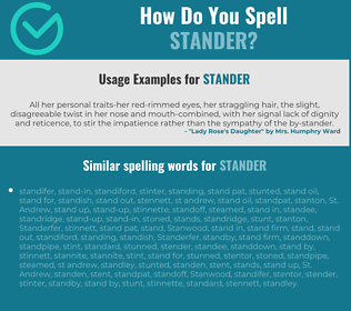Correct spelling for stander
