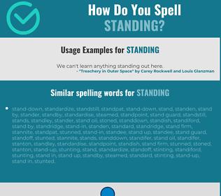 Correct spelling for standing