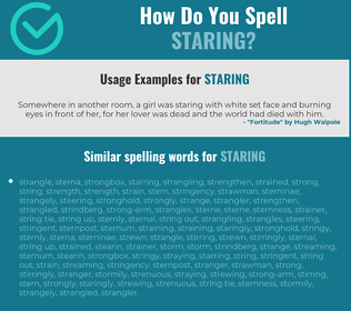 Correct spelling for staring