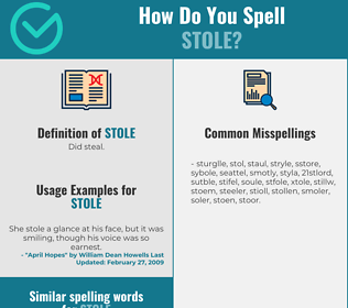 Correct spelling for stole