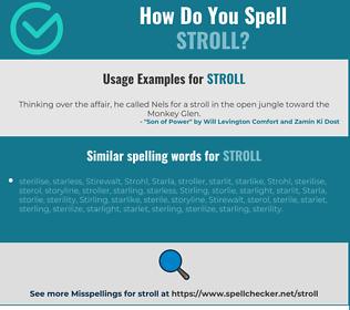 Correct spelling for stroll