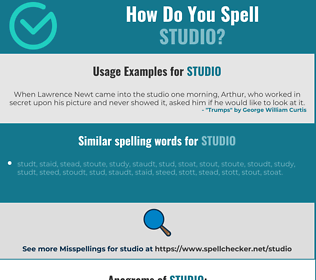 Correct spelling for studio
