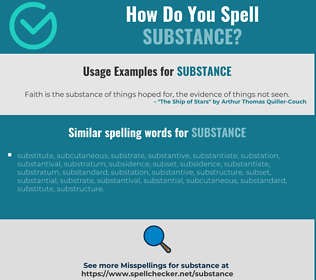 Correct spelling for substance