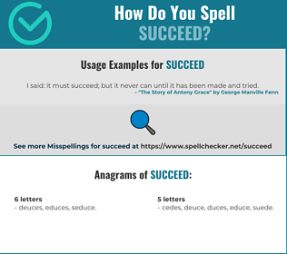 Correct spelling for succeed