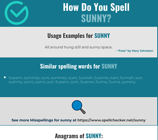 Correct spelling for sunny